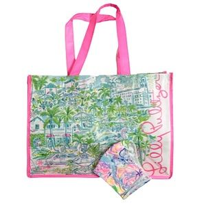 Lilly Pulitzer Vinyl Shopping Bag and NEW Mask